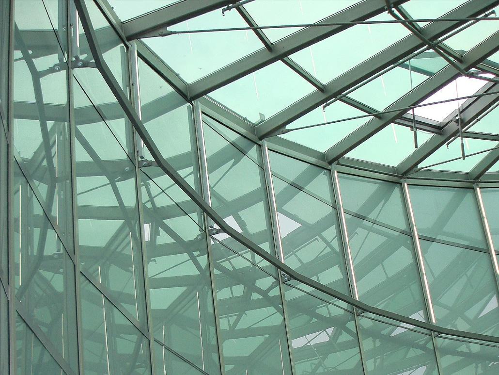 Hahner Stahlbau – Rotunden aus Stahl und Glas einfarbig Detail
